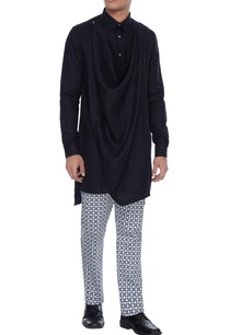 black-cowl-style-linen-kurta-shirt