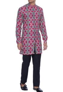 magenta-linen-henley-kurta-shirt