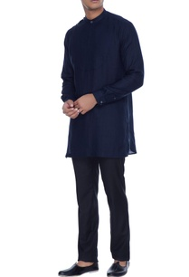 navy-blue-kurta-shirt-with-attached-bib-detail-henley-collar