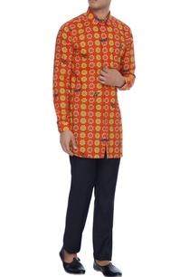 red-yellow-printed-luxe-cotton-kurta-shirt