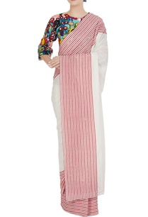 striped-saree-with-multicolored-sequin-bead-hand-embroidered-blouse