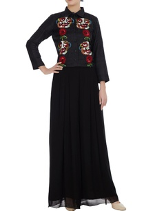 black-raw-silk-split-face-floral-motif-sequin-hand-embroidered-collar-shirt