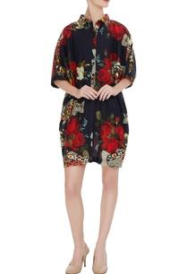 black-raw-silk-split-face-floral-motif-shirt-dress