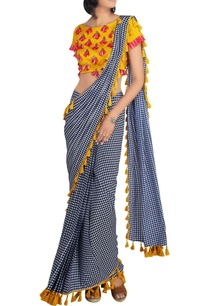 mustard-raw-silk-blouse-with-houndstooth-crepe-silk-pre-draped-saree