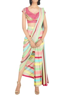 multicolored-pre-stitched-crepe-saree-with-coin-work-raw-silk-blouse