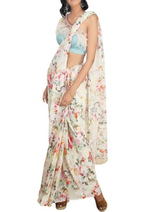 multicolored-georgette-floral-printed-saree-with-stain-lycra-one-shoulder-blouse