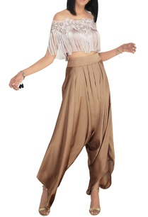 blush-pink-off-shoulder-fringe-blouse-with-satin-dhoti-pants