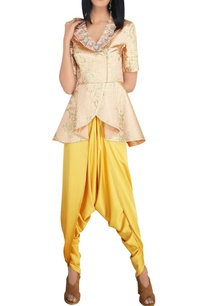 peach-textured-silk-thread-sequin-peplum-jacket-with-mustard-satin-dhoti-pants