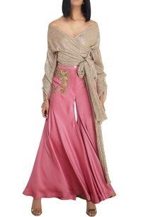 gold-shimmer-lycra-overlap-blouse-with-super-flared-satin-pants