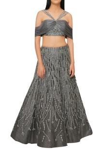 charcoal-grey-handcrafted-lehenga-with-off-shoulder-blouse