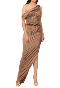 mocha-brown-draped-saree-with-embellished-peplum-yoke