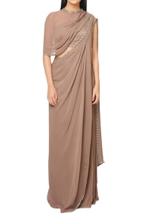 walnut-brown-satin-pre-draped-saree