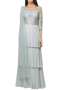 ocean-blue-georgette-shantoon-layered-gown-with-embroidered-yoke-net-dupatta