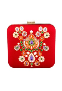 red-hand-painted-brocade-square-clutch