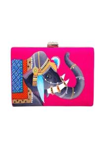 pink-royal-elephant-raw-silk-clutch
