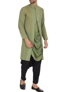 green-mulmul-cowl-pleated-layer-kurta