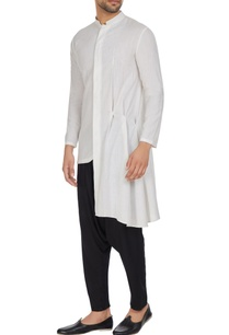 white-asymmetric-pleated-cotton-kurta