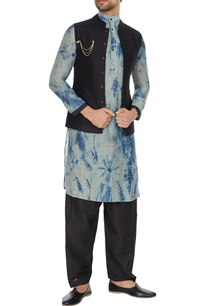 black-raw-silk-nehru-jacket-with-tie-dye-kurta-pants