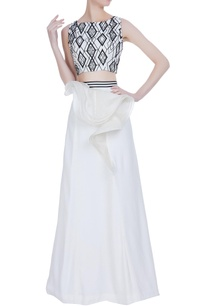 faux-leather-applique-crop-top-with-ruffle-layer-lehenga
