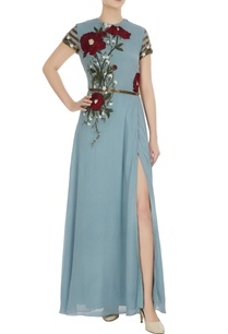 blue-embroidered-gown-with-sequence-waist-band