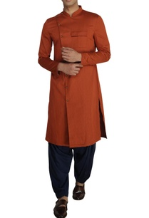 rust-cotton-overlap-kurta-with-navy-salwar-pants