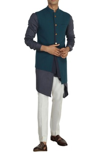 teal-grey-nehru-jacket-with-buckle-detail
