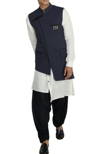 dark-grey-nehru-jacket-with-buckle-detail