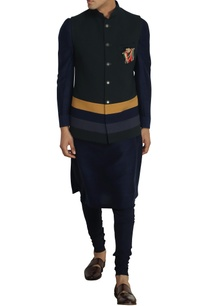 bottle-green-poly-wool-nehru-jacket