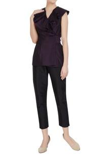 aubergine-purple-taffeta-silk-ruffle-blouse-with-tie-up-accents