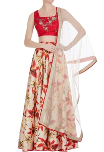 printed-lehenga-with-embroidered-blouse-and-net-dupatta