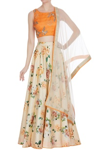 embroidered-blouse-with-printed-lehenga-set