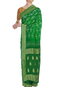 bandhani-mukaish-handwoven-saree-unstitched-blouse