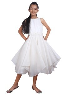 white-silk-asymmetric-hemline-dress