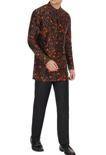multicolored-floral-printed-long-sleeve-chanderi-silk-short-kurta