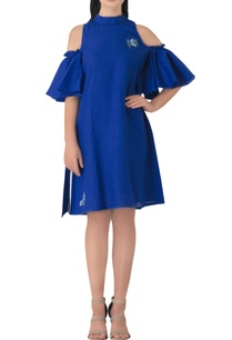 blue-linen-embrodiered-cold-shoulder-tunic-dress