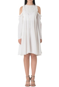white-cotton-cold-shoulder-dress-with-pearl-embellishment