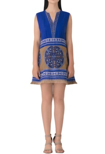blue-linen-embroidered-tunic-dress