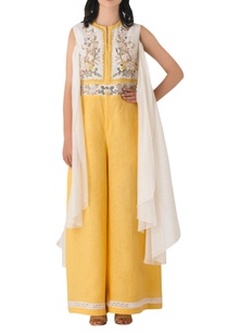 yellow-linen-embroidered-jumpsuit-with-attached-drape