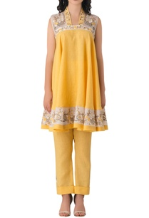 bright-yellow-linen-anarkali-with-embroidered-floral-motifs