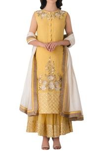 yellow-linen-anarkali-kurta-with-embroidered-pants-dupatta