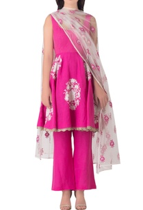 pink-linen-anarkali-kurta-with-embroidered-tulle-dupatta