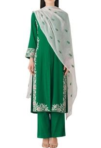 green-cotton-straight-kurta-set