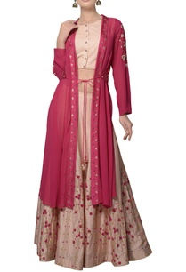 rani-pink-jacket-with-crop-top-flared-skirt