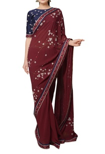 maroon-dori-and-stonework-embroidered-saree-with-blouse