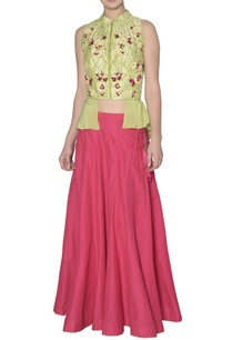green-wrap-blouse-with-dupion-silk-skirt