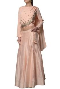 peach-draped-blouse-with-chanderi-silk-georgette-lehenga