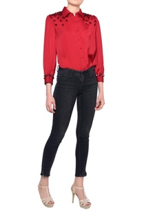 red-long-sleeve-sequin-embroidered-blouse