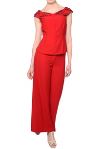 red-bead-embellished-blouse-with-flared-trousers
