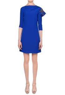 blue-bead-embellished-mini-dress