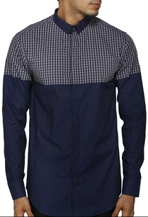 navy-blue-checked-shirt